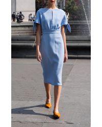 Lela Rose - Green Bow Tie Cape Sleeve Dress - Lyst
