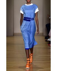 Agnona - Blue Superfine Tailoring Popeline One Seam Skirt - Lyst