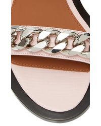 Givenchy - Pink Chain-trimmed Leather Sandals - Lyst