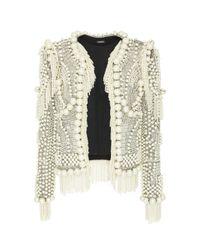 Balmain - Natural Collarless Pearled Jacket - Lyst