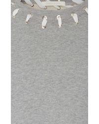 Jonathan Simkhai - Gray Whip Stitch Crop Sweater - Lyst