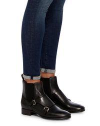 Santoni - Black Double Monk Ankle Boot - Lyst