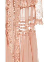 Elie Saab | Pink Crepe Georgette Long Sleeve Dress | Lyst