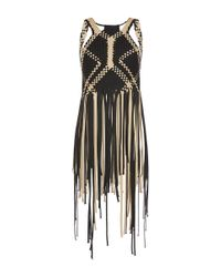 Alberta Ferretti - Black Woven Top With Fringe Hem - Lyst