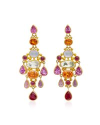 Mallary Marks - Metallic Chandelier Pink Sapphire Earrings - Lyst