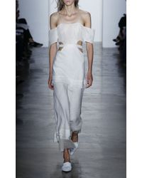 Wes Gordon - White Chiffon And Gauze Long Dress - Lyst