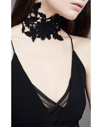 Jessica Choay - Black Lace Floral Choker - Lyst