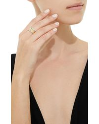 Fallon - Metallic Band Gold-plated Cubic Zirconia Ring - Lyst