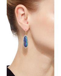 Pamela Huizenga - Blue Long Oval Australian Boulder Opal And Diamond Earrings - Lyst