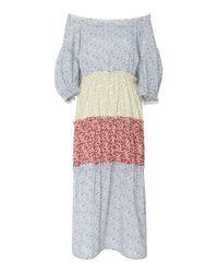 CF. Goldman - Multicolor Multi Floral Off Shoulder Dress - Lyst