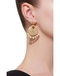 Sanjay Kasliwal - Metallic 22k Gold, Diamond And Pearl Earrings - Lyst