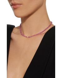 Sydney Evan - Pink 4 Mm Diamond Pave Ball Charm Necklace - Lyst