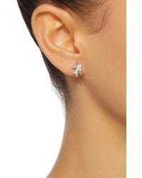 Colette | Metallic Mini Bird Huggies 18k White Gold Diamond Earrings | Lyst