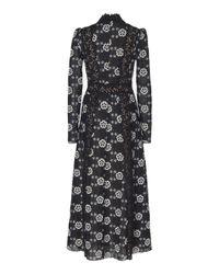 Giambattista Valli - Black Floral Silk Blend Midi Dress - Lyst