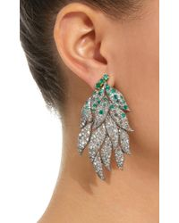 Sanjay Kasliwal - Metallic 18k Gold, Diamond And Emerald Earrings - Lyst