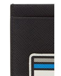 Prada - Black Logo-printed Leather Card Case - Lyst