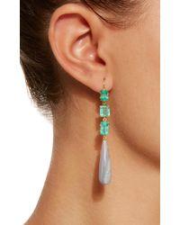 Sylva & Cie - Green Emerald And Opal Drop Earrings - Lyst