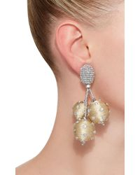 Oscar de la Renta - Metallic Triple Ball Polka Dot Earrings - Lyst
