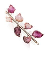 Irene Neuwirth - One-of-a-kind 18k Gold Carved Pink Tourmaline Leaves Bracelet - Lyst