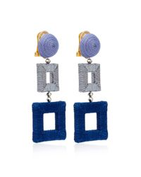 Oscar de la Renta - Blue Double Square Wrapped Earrings - Lyst