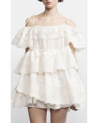 Dice Kayek - White Cotton Draped Mini Dress - Lyst