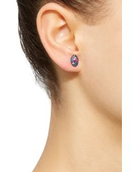 Colette - Baby Les Chevalieres 18k Black Gold Gemstone Earrings - Lyst