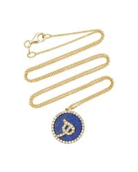 Names by Noush - Blue Treasure Disk Arabic Initial Necklace With Lapis Lazuli Gemstone - Lyst