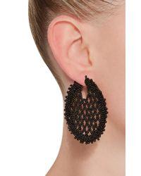 Oscar de la Renta - Black Beaded Lattice Disc Earring - Lyst