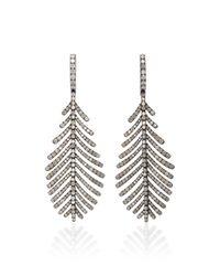 Sidney Garber - Gray 18k Plume Grey Diamond Earrings - Lyst