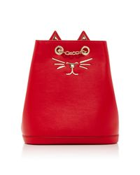 Charlotte Olympia - Red Embellished Feline Leather Backpack - Lyst