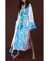 Yuliya Magdych - Blue Lace Batiste Tassel Midi Robe - Lyst