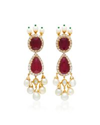 Sanjay Kasliwal - Red One-of-a-kind Ruby And Pearl Drop Earrings - Lyst
