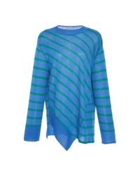 Goen.J | Blue Asymmetric Paneled Stripe Knit Top | Lyst
