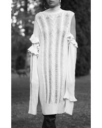 Magda Butrym | White Long Sleeve Midi Sweater Dress | Lyst