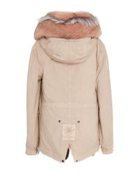 Mr & Mrs Italy - Pink Striped Fur Lined Mini Parka - Lyst