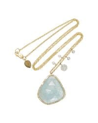 Meira T | Blue Yellow Gold And Milky Aqua Charm Necklace | Lyst