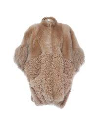 Agnona   Multicolor Fur Block Zip Poncho   Lyst