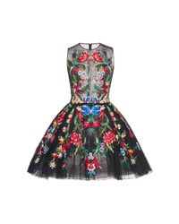 Zuhair Murad | Black Multicolor Embroidered Mini Dress | Lyst