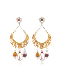 Rodarte   Metallic Gold Crescent Earrings With Amber, Amethyst And Ruby Glass Cabochons   Lyst