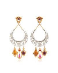 Rodarte | Metallic Nickel Crescent Earrings With Amber, Amethyst And Ruby Glass Cabochons | Lyst