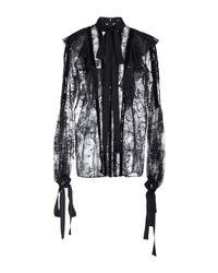 Elie Saab   Black Lace Ruffled Long Sleeve Blouse   Lyst