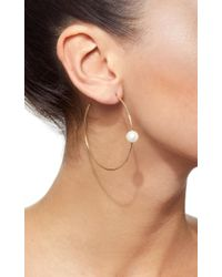 Sydney Evan - Metallic Pearl Hoop Earrings - Lyst