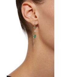 Zoe Chicco - Metallic Mixed Gemfields Emerald And Diamond Wire Earrings - Lyst