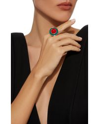 Aurelie Bidermann | Metallic Elvira Ring With Turquoise Enamel And Coral Resin | Lyst
