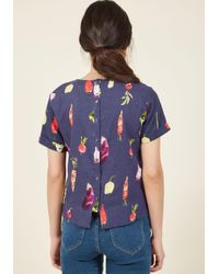 ModCloth - Blue Veggie As She Goes Top - Lyst
