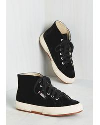 Superga | Black Velvet Low Top Sneakers | Lyst