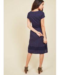 ModCloth - Blue Fall Where They Maze Midi Dress - Lyst