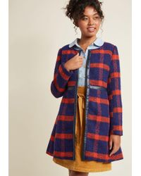 ModCloth - Blue Retro Tailored A-line Coat - Lyst