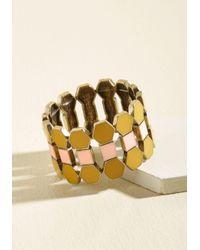 ModCloth | Metallic Oh Geo My Bracelet In Saffron | Lyst