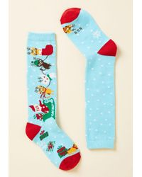 Sock It To Me - Blue Up On The Housetop, Reindeer Paws Youth Socks - Lyst